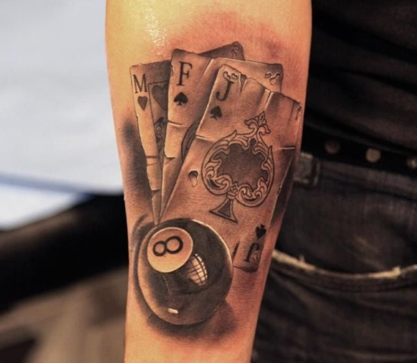 15 striking pool tattoos designs and ideas dzinemag for Card tattoo designs