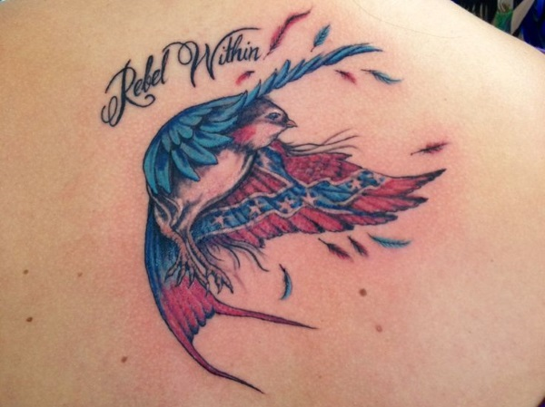 Confederate Flag Bird Tattoo