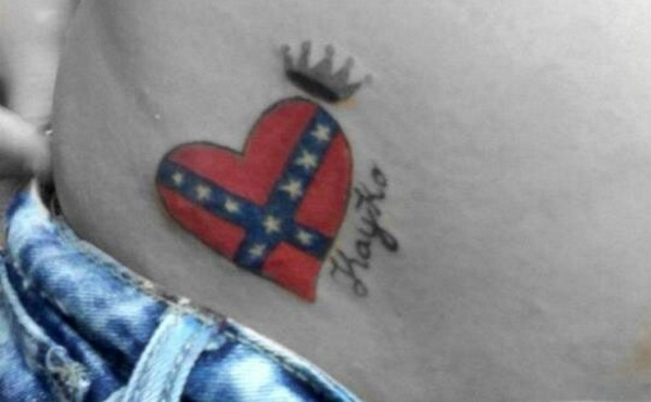 Confederate Flag Heart and Crown Tattoo