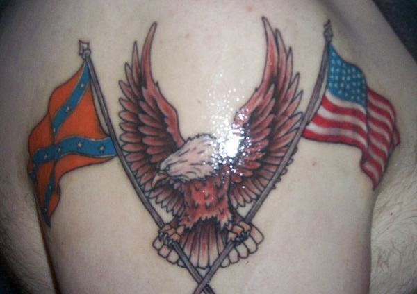 Eagle Clutching American and Confederate Flag Tattoo