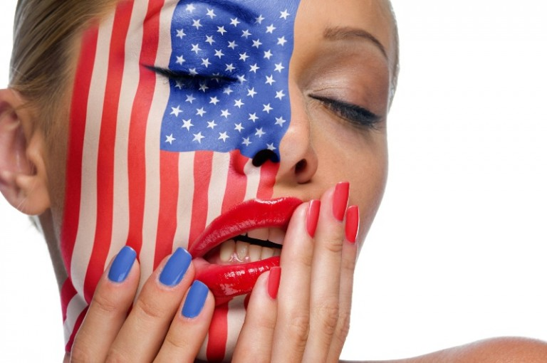 American Flag tattoo on women face