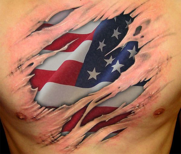 Native American Flag Tattoo Idea for Men on Chest