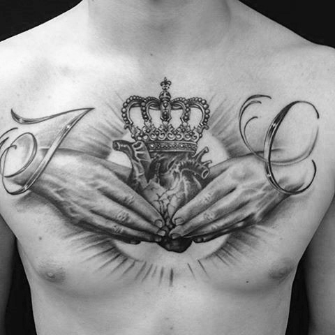30 most powerful crown tattoos for men tattoos era for Crown chest tattoo