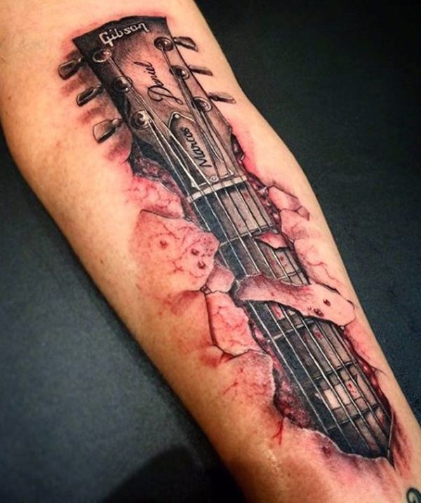 Guitar Tattoo Designs and Ideas 28