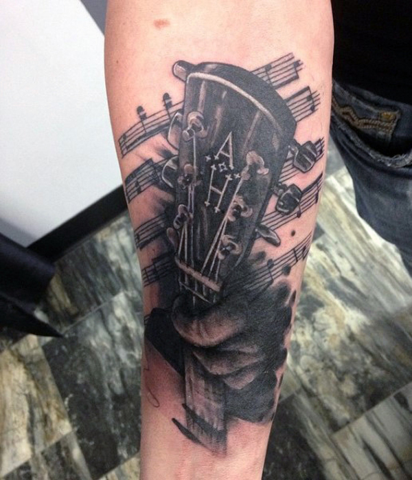Guitar Tattoo Designs and Ideas 34