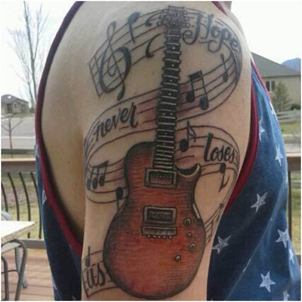 45 Guitar Tattoo Designs and Ideas