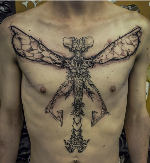chest Dragonfly Tattoo
