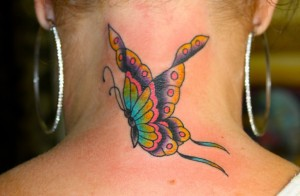 Beautiful Butterfly Tattoo designs on neck
