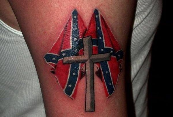 Cross and Confederate Flags Tattoo