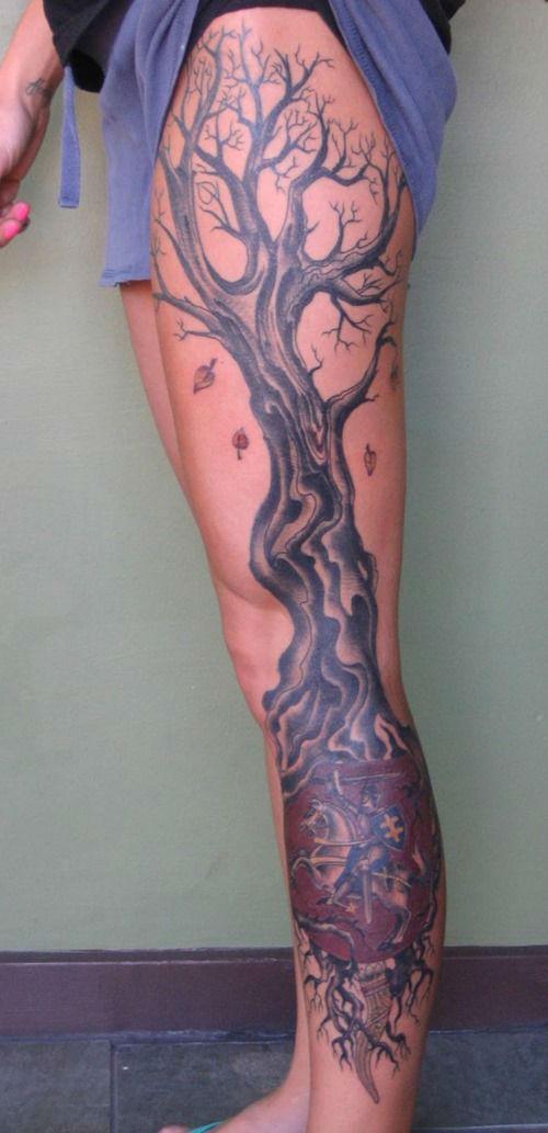 Insanely Hot Leg Sleeve Tattoos 13