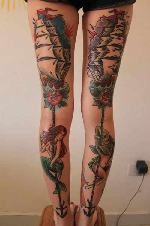 Insanely Hot Leg Sleeve Tattoos 16