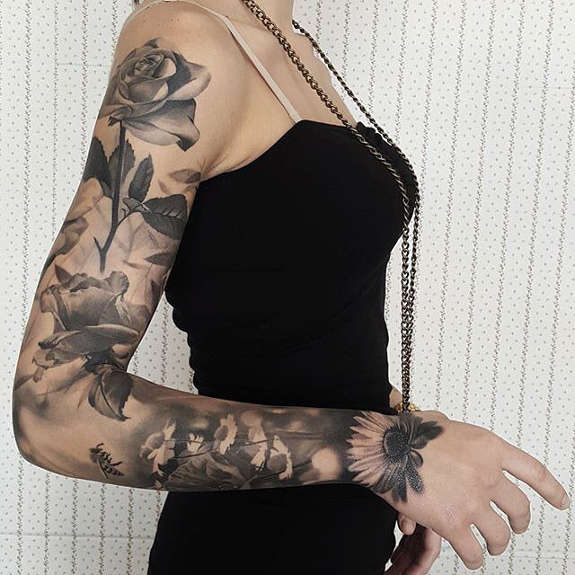 Rose flower sleeve tattoos for girl