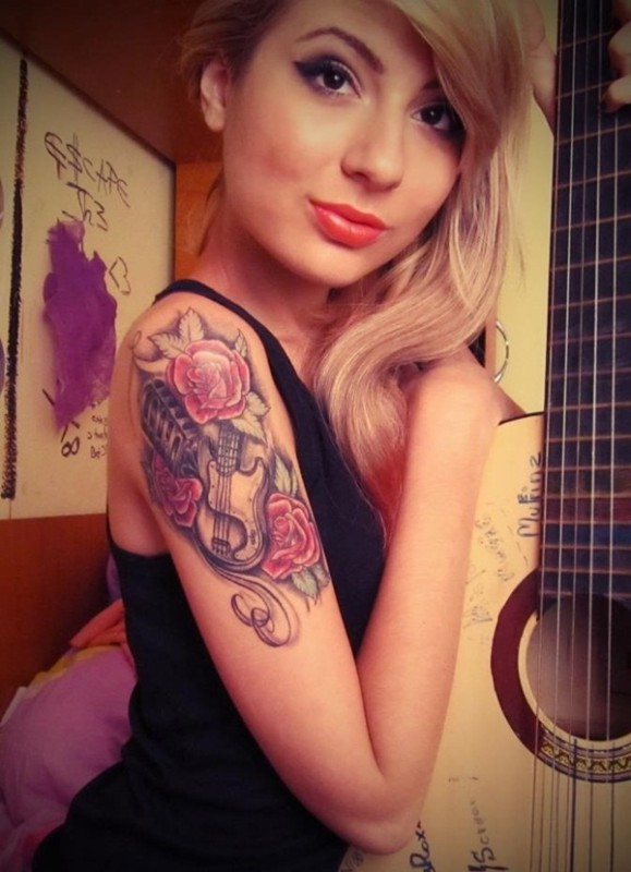 Rose flower with guitar tattoos for girl