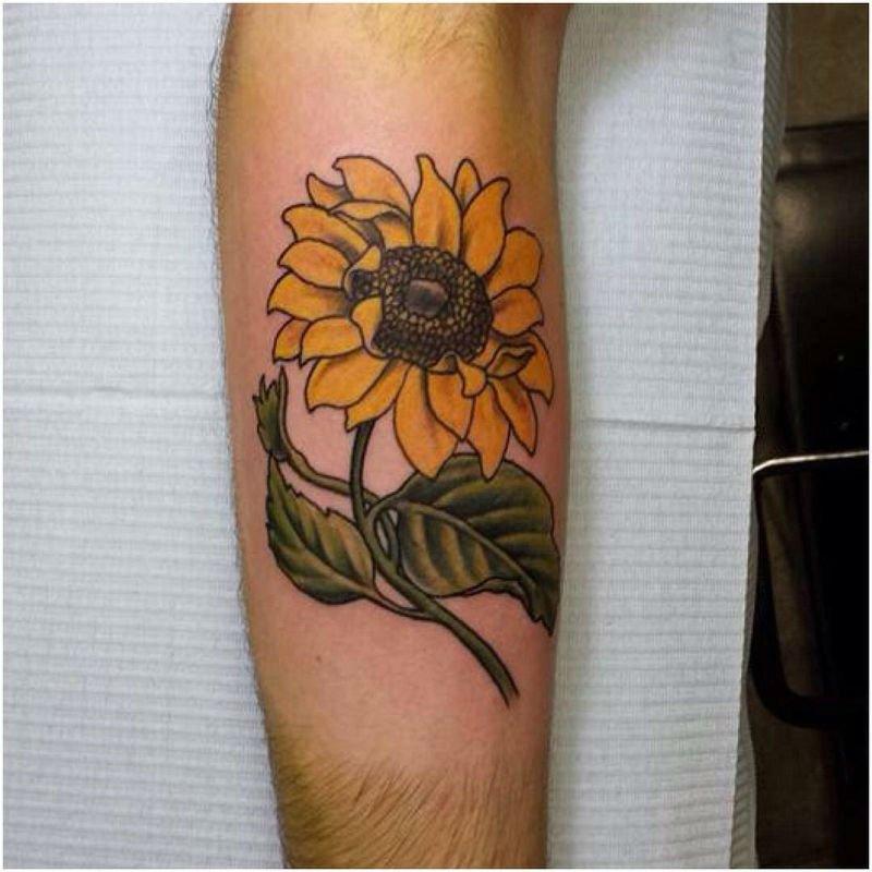 Warm Sunflower Tattoo Designs 10