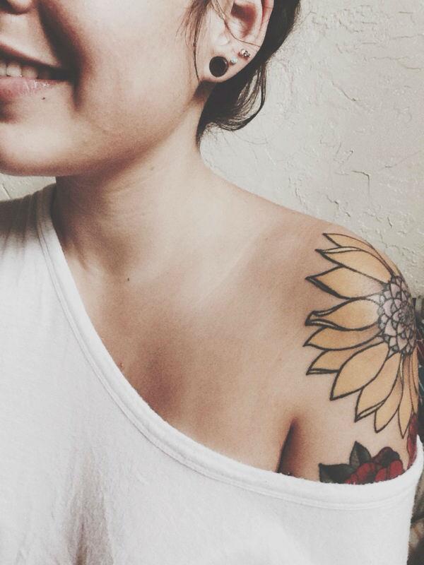 Warm Sunflower Tattoo Designs 21