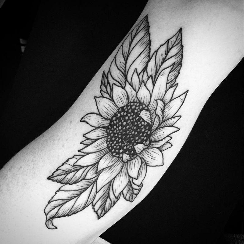 Warm Sunflower Tattoo Designs 9