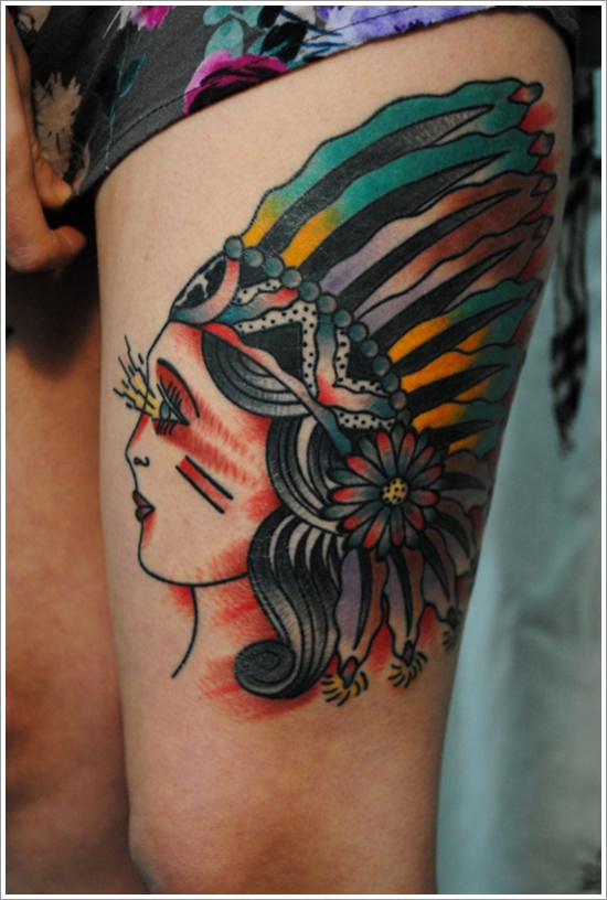 A Beautiful Native American Tattoo Design on Women Thigh