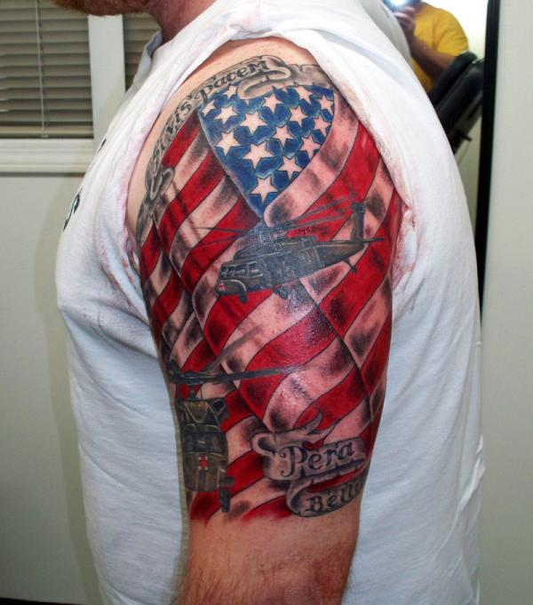 American Flag Military Tattoo Design for men arm