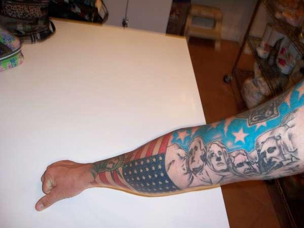 American Flag Tattoo Idea for Men on Hand