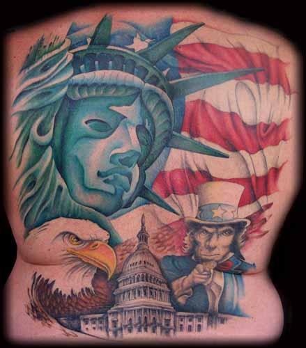 American Patriotic Tattoo Design for men back