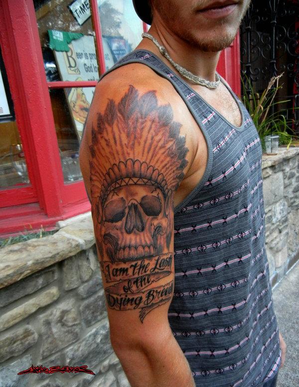 American skull tattoo for men on arm