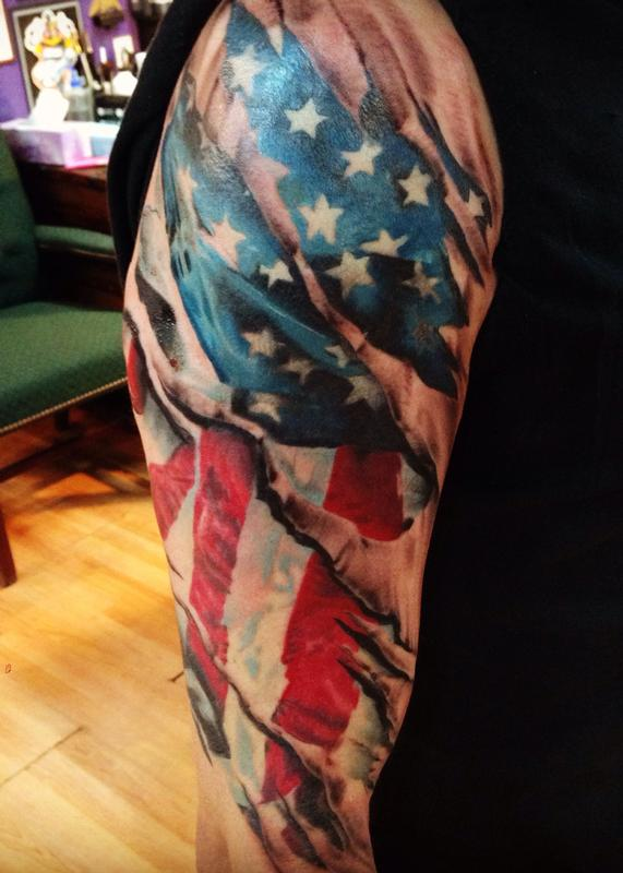 Realistic American Flag Tattoo for Men on Hand