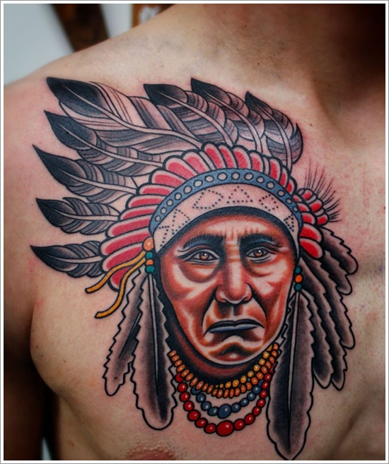 Transnational American Tattoo Idea for Men on Chest