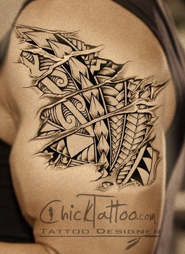Ripped Skin Tattoo Design and Ideas 10