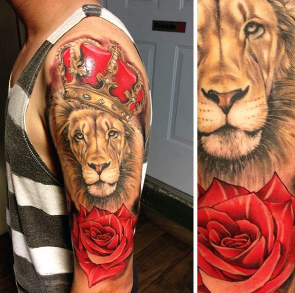 Amazing Lion, Rose & Crown Tattoos for Men