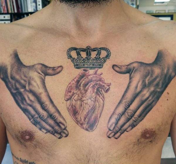 Manly Crown Chest Tattoo