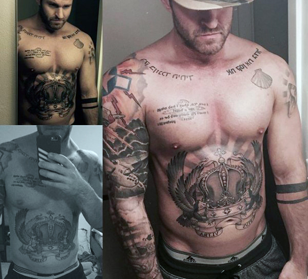 Upper Body Crown Tattoos for Men